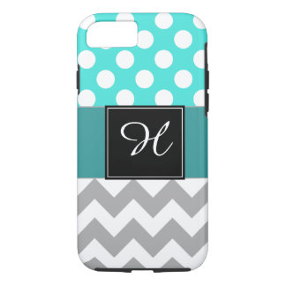 Monogram Chevron Cell Phone Case Turquoise