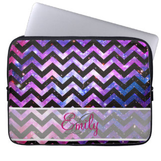 Monogram Chevron Cute Pink Teal Nebula Galaxy Laptop Sleeve