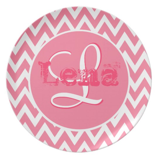 Monogram Chevron Dreams | baby pink kids Plate