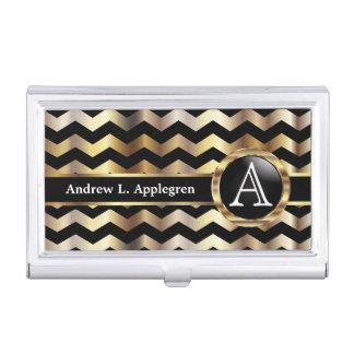 Monogram - Chevron Gold and Black Business Card Holder