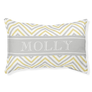 Monogram Chevron Gray And Gold Modern Dog Bed
