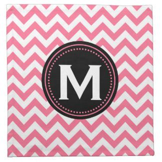 Monogram Chevron | Pink White Black Color Palette Cloth Napkin