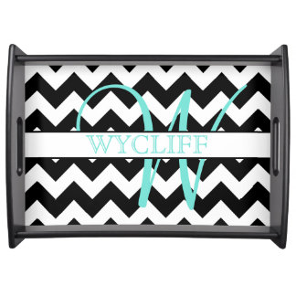 Monogram Chevron Serving Tray