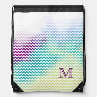 monogram chevron stripes initial drawstring bag