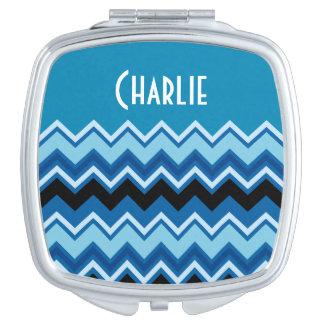 Monogram Chevron Summer Blue Cobalt Sapphire Vanity Mirror