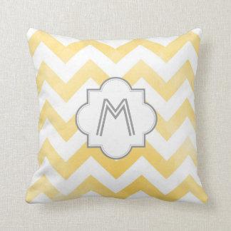 Monogram Chevron throw pillow - yellow