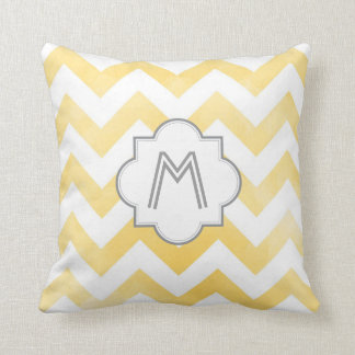 Monogram Chevron throw pillow - yellow Cushions