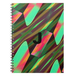 Monogram Chevron Waves Pattern Design Notebook