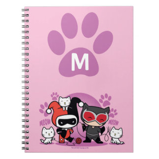 Monogram Chibi Harley Quinn & Catwoman With Cats Notebook