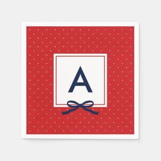 Monogram Chic Blue Ribbon Red and White Polka Dot Disposable Napkin