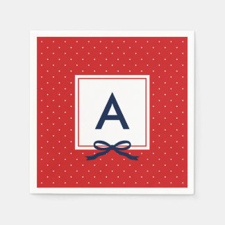 Monogram Chic Blue Ribbon Red and White Polka Dot Paper Napkins