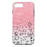 Monogram chic faux pink glitter leopard watercolor iPhone 7 plus case
