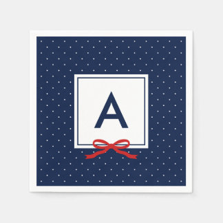 Monogram Chic Red Ribbon Blue Polka Dot Pattern Disposable Napkins