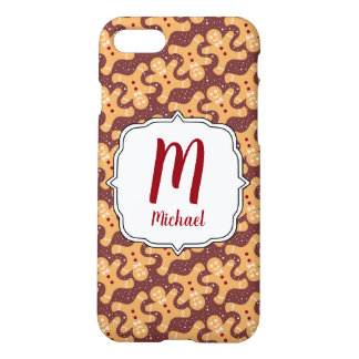 Monogram Christmas Gingerbread Man  Phone Case