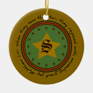 Monogram Christmas Holiday Star Round Ornament