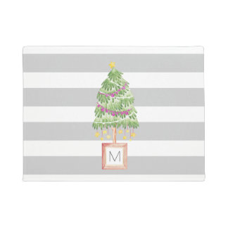 Monogram Christmas porch decor, trendy stripes Doormat
