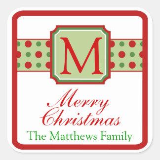 Monogram Christmas Stickers