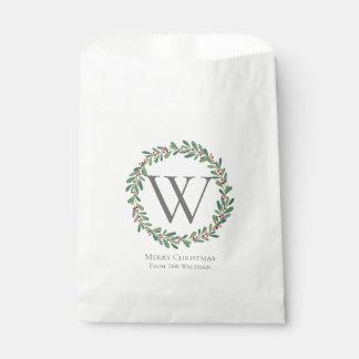 Monogram Christmas Winter Sprigs Favour Bag