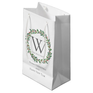 Monogram Christmas Winter Sprigs Gift Bag