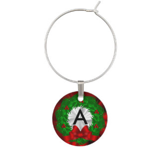 Monogram Christmas Wreath Wine Charm