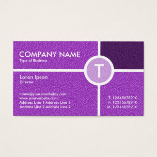 Monogram Circle Cross - Purple Embossed Texture Business Card