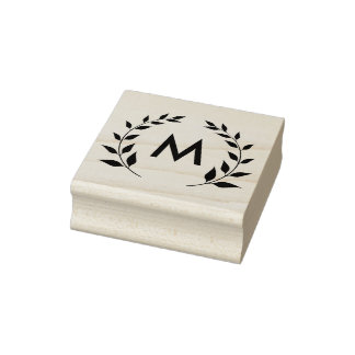 Monogram Circle of Leaves Rubber Stamp