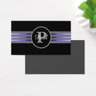 Monogram Circle Silhouette Black and Gray Stripes Business Card