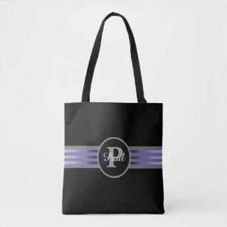 Monogram Circle Silhouette Black and Gray Stripes Tote Bag
