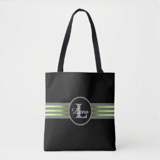 Monogram Circle Silhouette Black and Gray Stripes Tote Bag