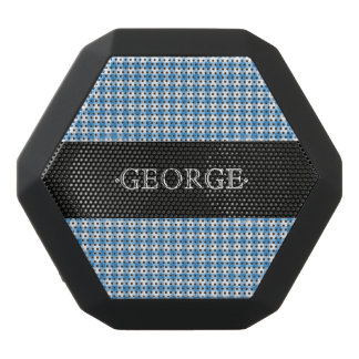 Monogram. Classic Blue and White Plaid Checker. Black Bluetooth Speaker