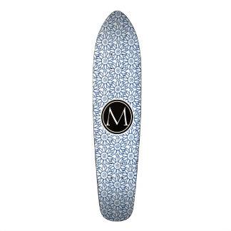 Monogram Classic Blue Sunflower Pattern 21.6 Cm Old School Skateboard Deck