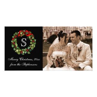 Monogram Classic Holly Wreath Christmas Photo Card