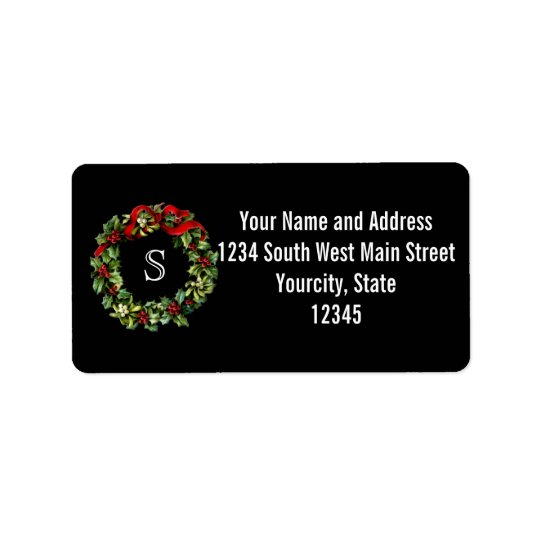 Monogram Classic Holly Wreath Custom Christmas Address Label
