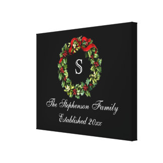 Monogram Classic Holly Wreath Custom Christmas Stretched Canvas Prints