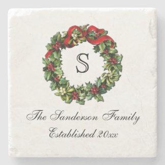 Monogram Classic Holly Wreath Custom Christmas Stone Coaster