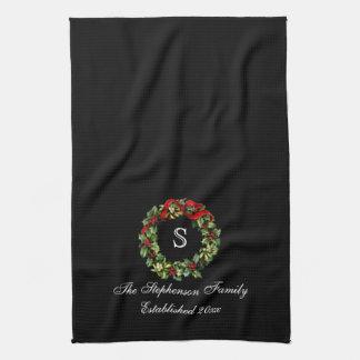 Monogram Classic Holly Wreath Custom Christmas Tea Towel