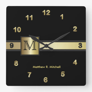 Monogram Classy Black and Gold  Executive Square Wall Clock