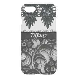 Monogram Classy Black Lace & Ribbon iPhone 7 iPhone 8/7 Case
