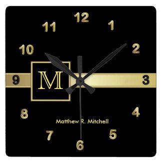 Monogram Classy Executive Square Wall Clock