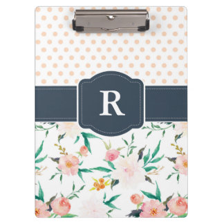 Monogram Clipboard Watercolor Floral, Blue