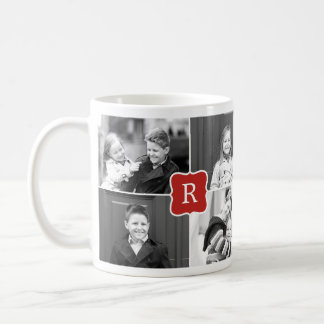 Monogram Collage Custom Photo Mug - Red