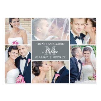 Monogram Collage Wedding Announcement - Gray Personalized Announcements