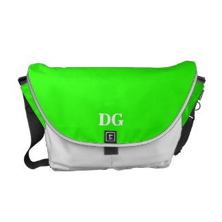 Monogram Color block bright lime green Courier Bag