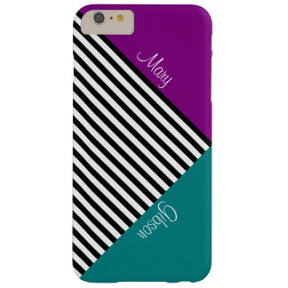 Monogram Color Block Purple Teal & Black Stripes Barely There iPhone 6 Plus Case
