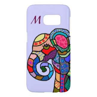 Monogram Colorful Folk Art Elephant Portrait