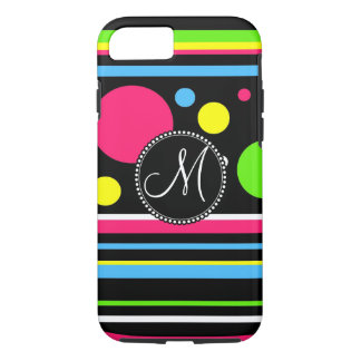Monogram Colorful Neon Stripes Polka Dots iPhone 7 iPhone 7 Case