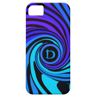 Monogram Colorful Retro Twirl Blue Violet iPhone 5 Cover