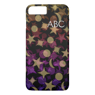 MONOGRAM COLORFUL STARS AND MOON by Slipperywindow iPhone 8 Plus/7 Plus Case