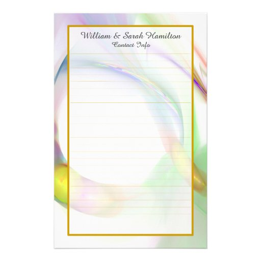 Monogram Colorful Wedding Rings Lined Stationery