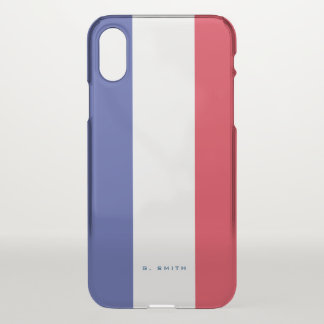 Monogram. Colors of France Flag. iPhone X Case